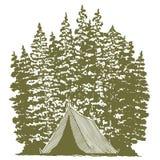 Holzschnitt-kampierende Grafik lizenzfreie abbildung