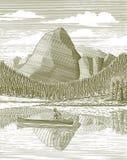 Holzschnitt-Mann und Kanu vektor abbildung
