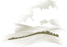 Holzschnitt Skyscape