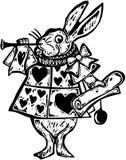 Holzschnitt-weißer Kaninchen-Verkünder lizenzfreie abbildung