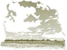Holzschnitt-Wolken-Szene