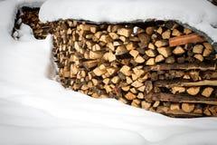 Holzschuppen fast vollständig bedeckt durch Schnee Lizenzfreies Stockbild