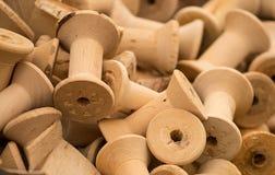 Holzspulen Stockfoto