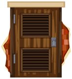Holztür auf brickwall vektor abbildung