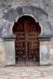 Holztür des Auftrags Espada in San Antonio lizenzfreies stockbild