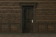 Holztür im leeren Luxusinnenraum 3d übertragen Stockfotografie