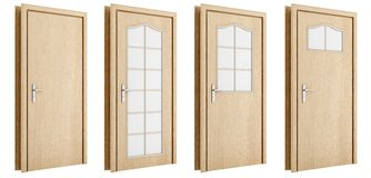 Holztür lokalisiert auf Weiß Lizenzfreie Stockbilder