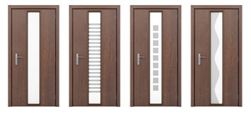 Holztür lokalisiert auf Weiß Lizenzfreies Stockbild