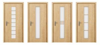Holztür lokalisiert auf Weiß Stockbilder