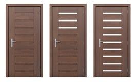 Holztür lokalisiert auf Weiß Lizenzfreies Stockfoto