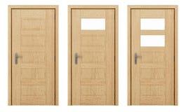 Holztür lokalisiert auf Weiß Lizenzfreie Stockfotografie