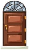Holztür mit Kurvenfenster auf die Oberseite stock abbildung