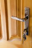 Holztür mit silbernem Griff Stockfotografie