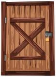 Holztür mit Vorhängeschloß lizenzfreie abbildung