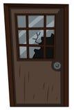 Holztür mit zerbrochener Fensterscheibe stock abbildung