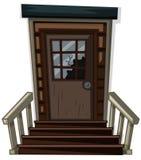 Holztür mit zerbrochener Fensterscheibe vektor abbildung