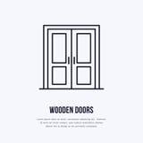 Holztürinstallationslogo, reparieren flache Linie Ikone Dünnes lineares Zeichen der Innenarchitektur für Hausdekorshop, Heimwerke vektor abbildung