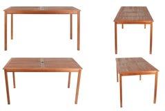 Holztisch lokalisiert auf weißem Hintergrund Lizenzfreies Stockbild