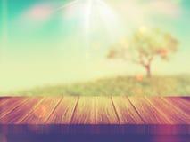 Holztisch mit Baumlandschaft mit Weinleseeffekt Stockfotografie