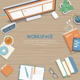 Holztisch mit Monitor, Bücher, Notizbuch, Kopfhörer, Bleistifte Draufsicht des Arbeitsplatzhintergrundes lizenzfreie abbildung