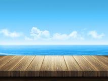 Holztisch mit Ozeanlandschaft im Hintergrund Lizenzfreie Stockbilder
