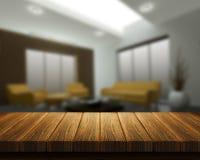 Holztisch mit Rauminnenraum im Hintergrund Stockfotos