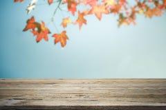Holztisch oder Terrasse und Rotblätter auf Hintergrund des blauen Himmels Lizenzfreies Stockbild