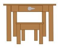 Holztisch und Schemel Vektor Abbildung