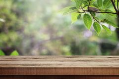 Holztisch und unscharfer gr?ner Naturgartenhintergrund stockfotos