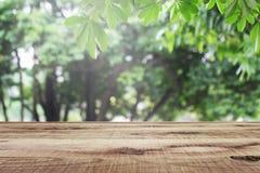 Holztisch und unscharfer gr?ner Naturgartenhintergrund lizenzfreie stockfotografie