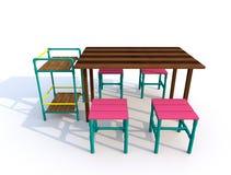 Holztische mit Stühlen Stockfotos