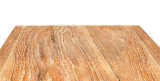 Holztischperspektive lokalisiert auf weißem Hintergrund Stockfotos