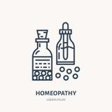 Homöopathielinie Ikone Vektorlogo für Alternativmedizinspeicher stock abbildung