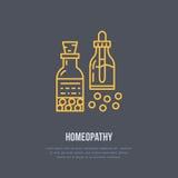 Homöopathielinie Ikone Vektorlogo für Alternativmedizinspeicher vektor abbildung