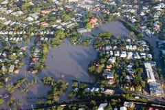 Hom van de Mening van Januari 2011 van de Vloed van de Rivier van Brisbane de Lucht Stock Foto's