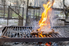 Homade sausages on barbecue Stock Images