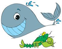 Homar i wieloryba ilustracja Obraz Royalty Free