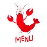 Homard avec la griffe Chef Hat Personnage de dessin animé mignon Symbole de signe de menu de fruits de mer Animal drôle d'océan d illustration de vecteur