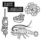Homard d'épine de fruits de mer, le bisque de homard illustration libre de droits