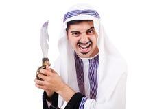 Hombre árabe con el cuchillo Fotos de archivo libres de regalías