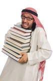 Hombre árabe con los libros aislados en blanco Imagenes de archivo