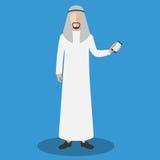 Hombre árabe que sostiene el teléfono elegante Ejemplo plano del vector Imagen de archivo libre de regalías
