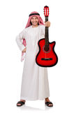 Hombre árabe que toca la guitarra Foto de archivo