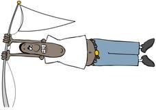 Hombre étnico en un fuerte viento stock de ilustración