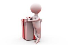 hombre 3d con concepto del regalo Imagen de archivo