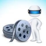 hombre 3d con el rollo de película Imagen de archivo libre de regalías