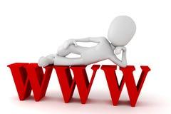 hombre 3d con el símbolo de WWW Imagenes de archivo