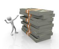 hombre 3d con la pila de paquetes del dólar stock de ilustración