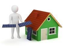 hombre 3d con los paneles solares Imagen de archivo libre de regalías