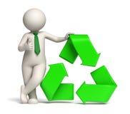 hombre 3d - el verde recicla el icono y los pulgares para arriba Fotografía de archivo